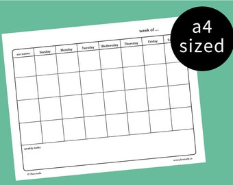 weekly family planner - family calendar - family plan - household chore list - printable - Sunday start - a4 sized - undated - pdf