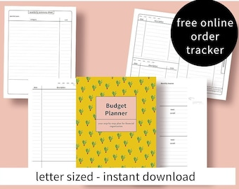 Printable budget planner with instructions - expense tracker and income planner - letter sized - instant download