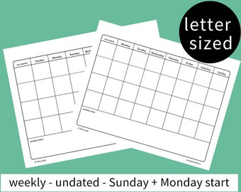 BUNDLE! weekly family planner - calendar - family plan - household chore list - agenda - letter sized - Sunday + Monday start - undated