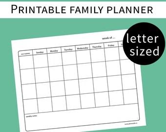 weekly family planner - family calendar - family plan - household chore list - printable - Sunday start - letter sized - undated - pdf