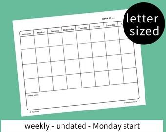 weekly family planner - family calendar - family plan - household chore list - printable - agenda - letter sized - Monday start - undated