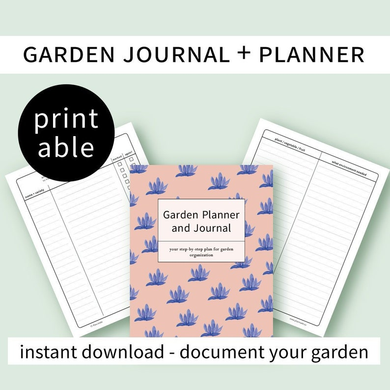 Garden journal and planner with instructions printable  image 0