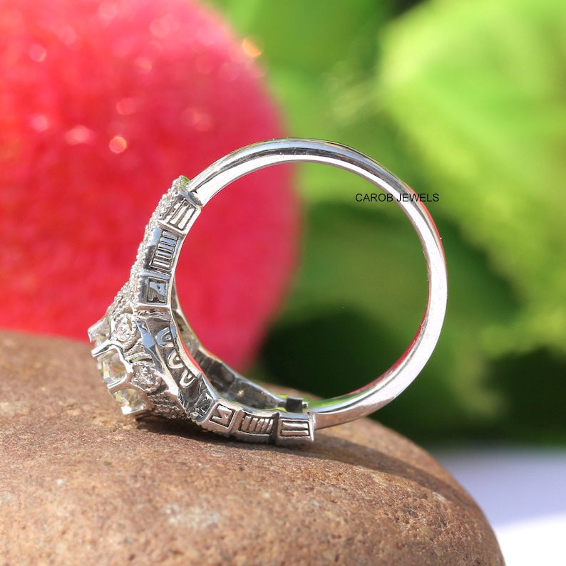 0.85 Ct Antique Round Moissanite Wedding Ring Antique Cut Vintage Ring Victorian Ring For Engagement 14Kt White Gold Ring Bridal Jewelry