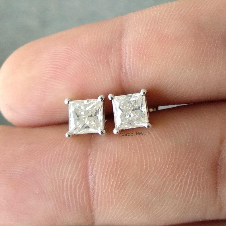 741f2f906 2 CT Near Colorless Princess Cut Moissanite Stud Earrings | Etsy