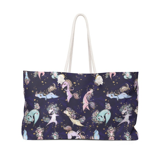 Yoga Unicorn Yogacorn Art Print On Oversized Weekender Bag Tote