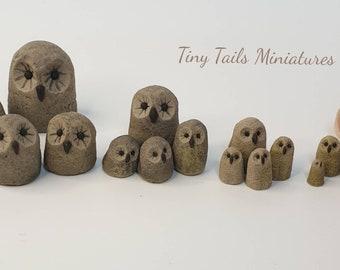Garden Ornamental Owl Family, 12th scale Faux Stone
