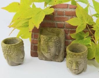 12th Scale Buddha Zen Garden Inspired Planters, Faux Stone
