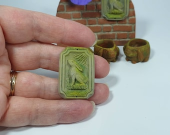 12th scale Hare Plaque, Weathered Faux Stone Miniature