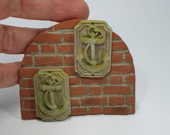12th Scale Anchor Plaque, Weathered, Faux Stone.