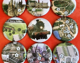 1.25u0027u0027 Park Map Pinback Button Set   Universal Studios Orlando   The  Wizarding World Of Harry Potter   Diagon Alley And Hogsmeade Combo