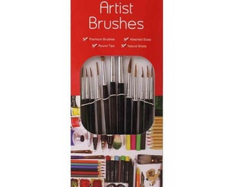 Pack of 12 Natural Artists Brushes