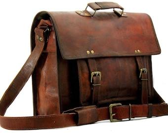 b5e94e7e402 Brown Leather Crossbody Bag Mens Leather Satchel Leather Mens Messenger Bag  Laptop Briefcase Brown Laptop Bag Mens Shoulder Bag Office Pack