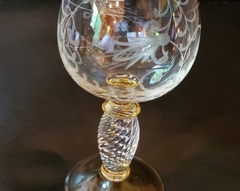 Luminarc France German Roemer Style Wine Glass Amber Brown Beehive Pattern