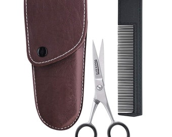 Beard & Mustache Scissors – Sharp and Precise Beard Scissors - Mini Comb and Leather Case - Trimming Grooming Cutting Mustache Hair