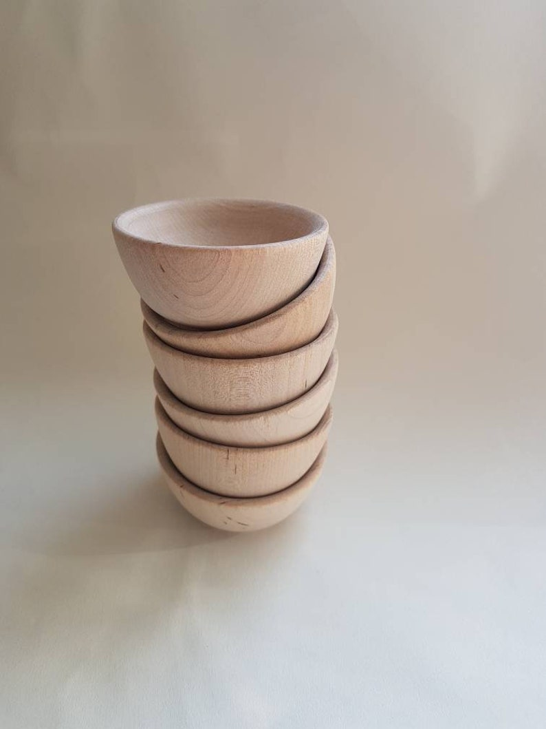 Small Unfinished Wood Bowls Set Of 6 Montessori And Waldorf Open Ended Play
