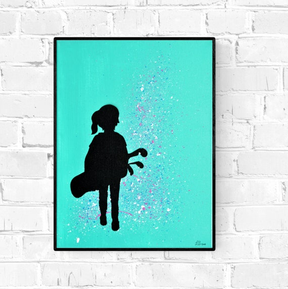 Golf Girl Silhouette Acrylic Painting Original Canvas Art Etsy