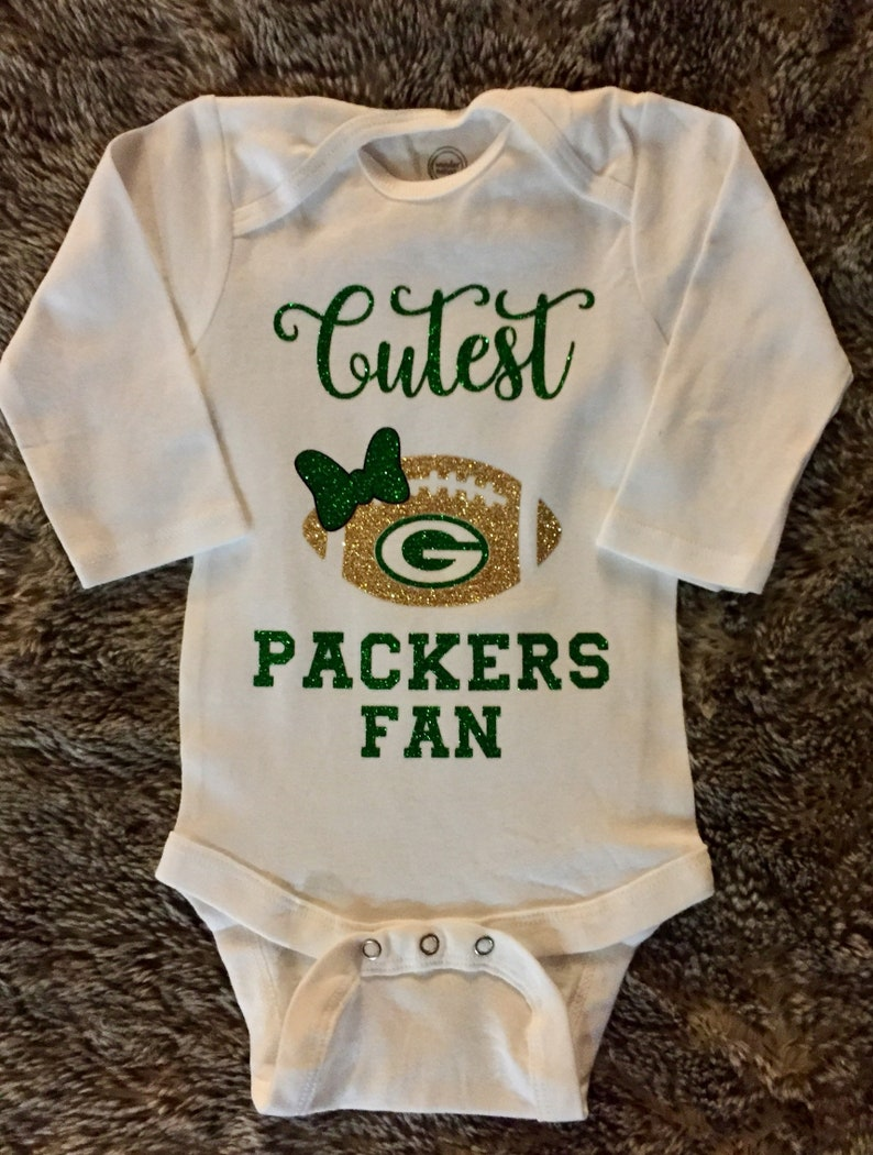 a145fdb2 Green Bay Packers Fan Baby Girl Bodysuit, sports baby shower, football baby  bodysuit, football season gifts, Green Bay Packers family photo
