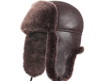 Shearling Sheepskin Leather Aviator Russian Ushanka Trapper Winter Fur Hat  Brown 85acf3c2741