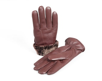 148e1c1fbf310 Men's Premium Shearling Sheepskin Fur Lined Leather Gloves Burgundy