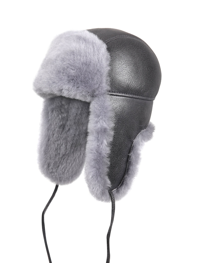 8d0933bbd Shearling Sheepskin Leather Aviator Russian Ushanka Trapper Winter Fur Hat  Antrasit