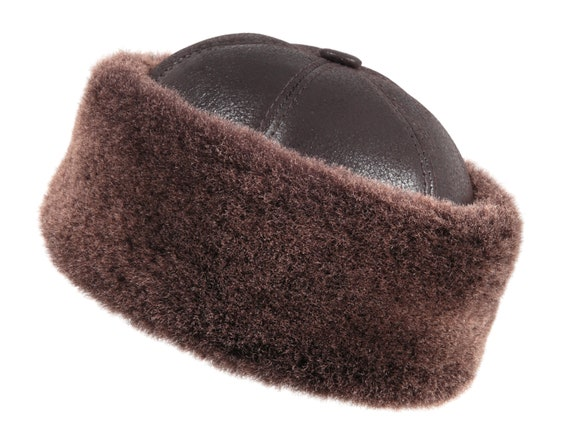 HAT Sheepskin shearling Leather Fur confort Beanie Hat for Winter S-2XL