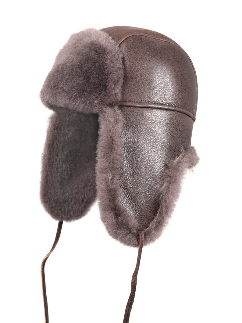 a44f2345f0e78 Shearling Sheepskin Leather Aviator Russian Ushanka Trapper