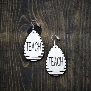 Oval Earrings School Earrings ABC School Faux Leather Earrings Leather Earrings Teacher Appreciation Teardrop {1.5} Back to School