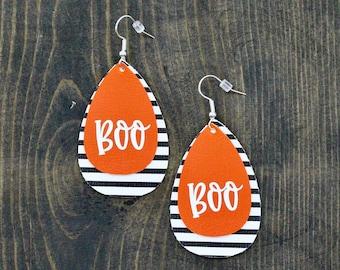 """Boo Faux Leather Earrings, Oval Earrings, Teardrop {2""""}, Halloween Earrings, Boo, Orange, Black and White, Stripes, Fall, Leather Earrings"""