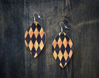 Small Leaf Halloween Faux Leather Earrings Argyle Teardrop {2} Leather Earrings Dangle Petal Orange Earrings Halloween Earrings