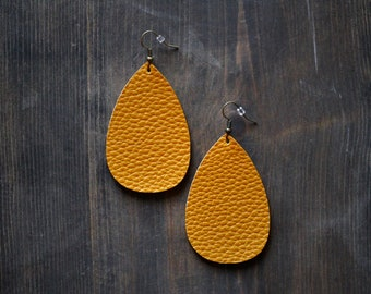Teardrop {2} Yellow Faux Leather Earrings Small Oval Mustard Yellow Dark Yellow Drop Dangle Leather Earrings Yellow Earrings