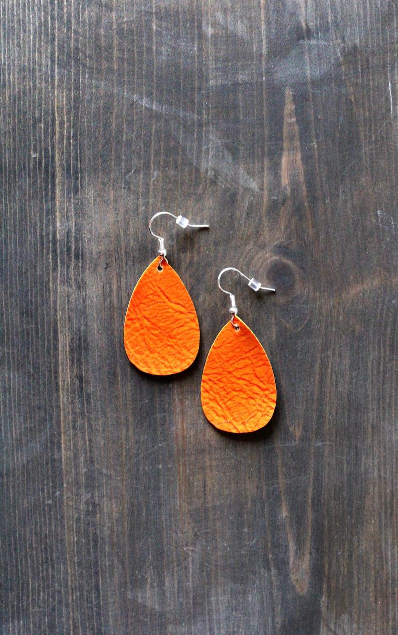Halloween Earrings Orange Faux Leather Earrings Orange Earrings Extra Small Oval Leather Earrings Orange Jewelry Teardrop {1.5}