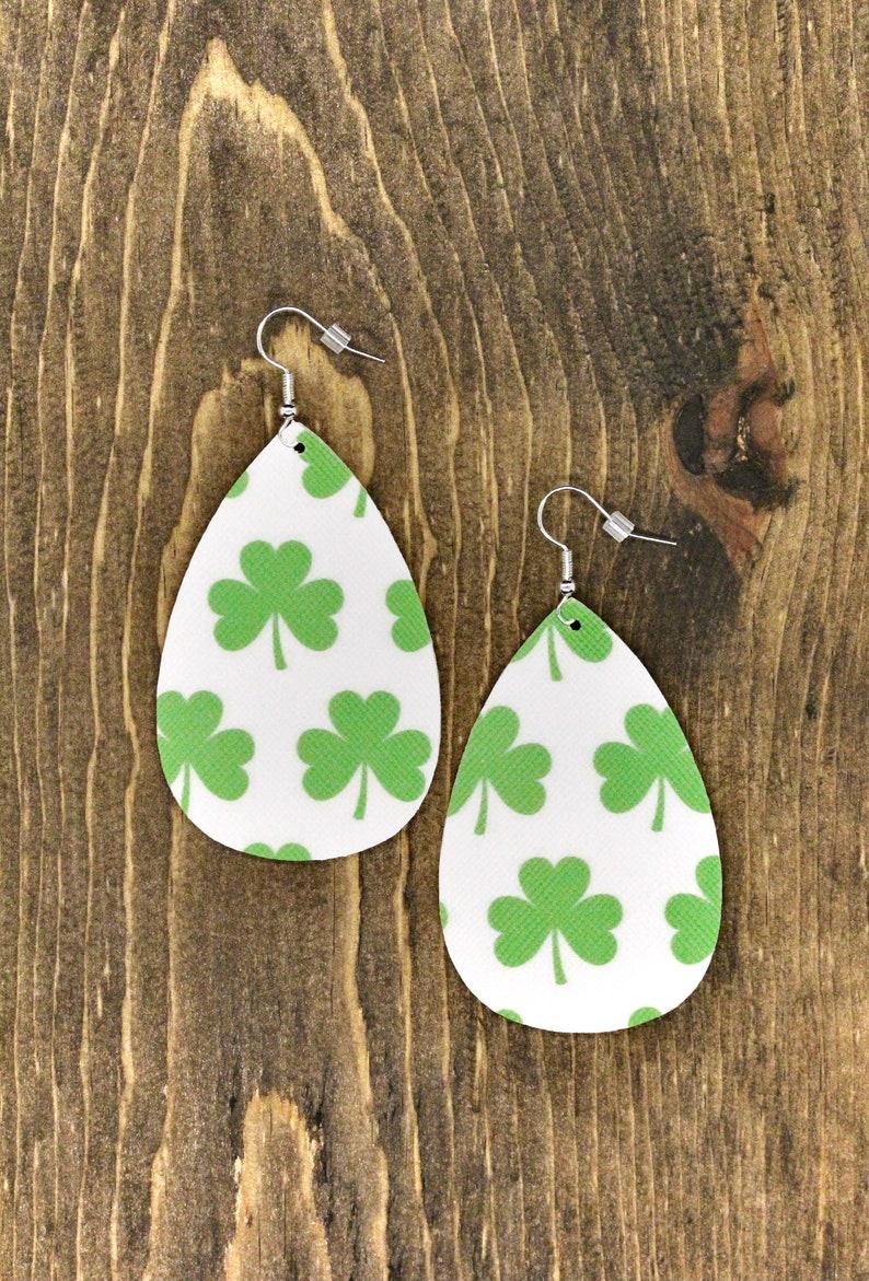 Shamrock Leather Earrings Teardrop {2.5} St Patty/'s Day Large Oval St Patrick/'s Day Faux Leather Earrings Green Earrings Lucky