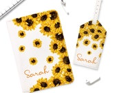 Sunflower Passport Holder Monogrammed Travel Set Custom Leather Passport Cover Cute Passport Case Luggage Tag Name Travel Wallet YD0189