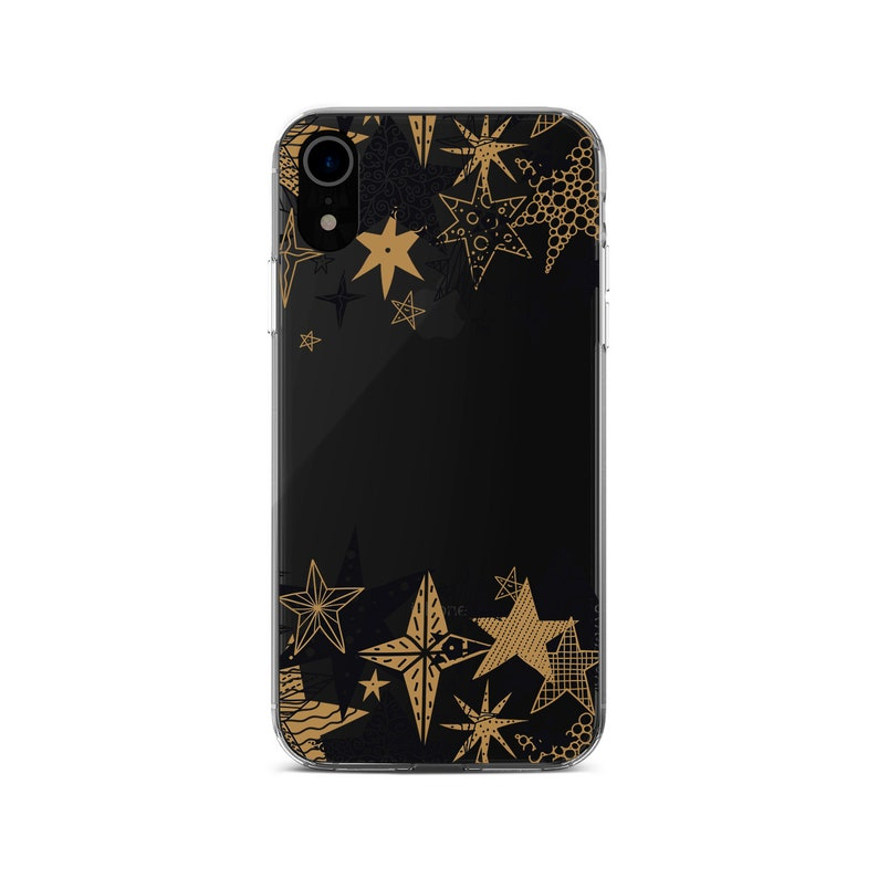 sports shoes ef8cc 955f8 Winter Star iPhone X Cover iPhone 7 Plus Case iPhone XR Cover Black Gold  Star Clear Case Pixel 3 XL Case Pixel Case Pixel 2 Case YD0104