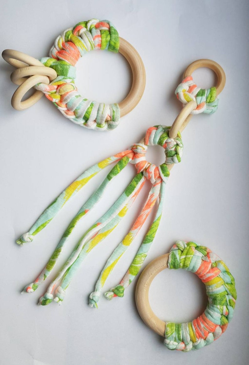 Floral /& greens Limited edition yarn teething Necklace Quarter crochet wooden teether