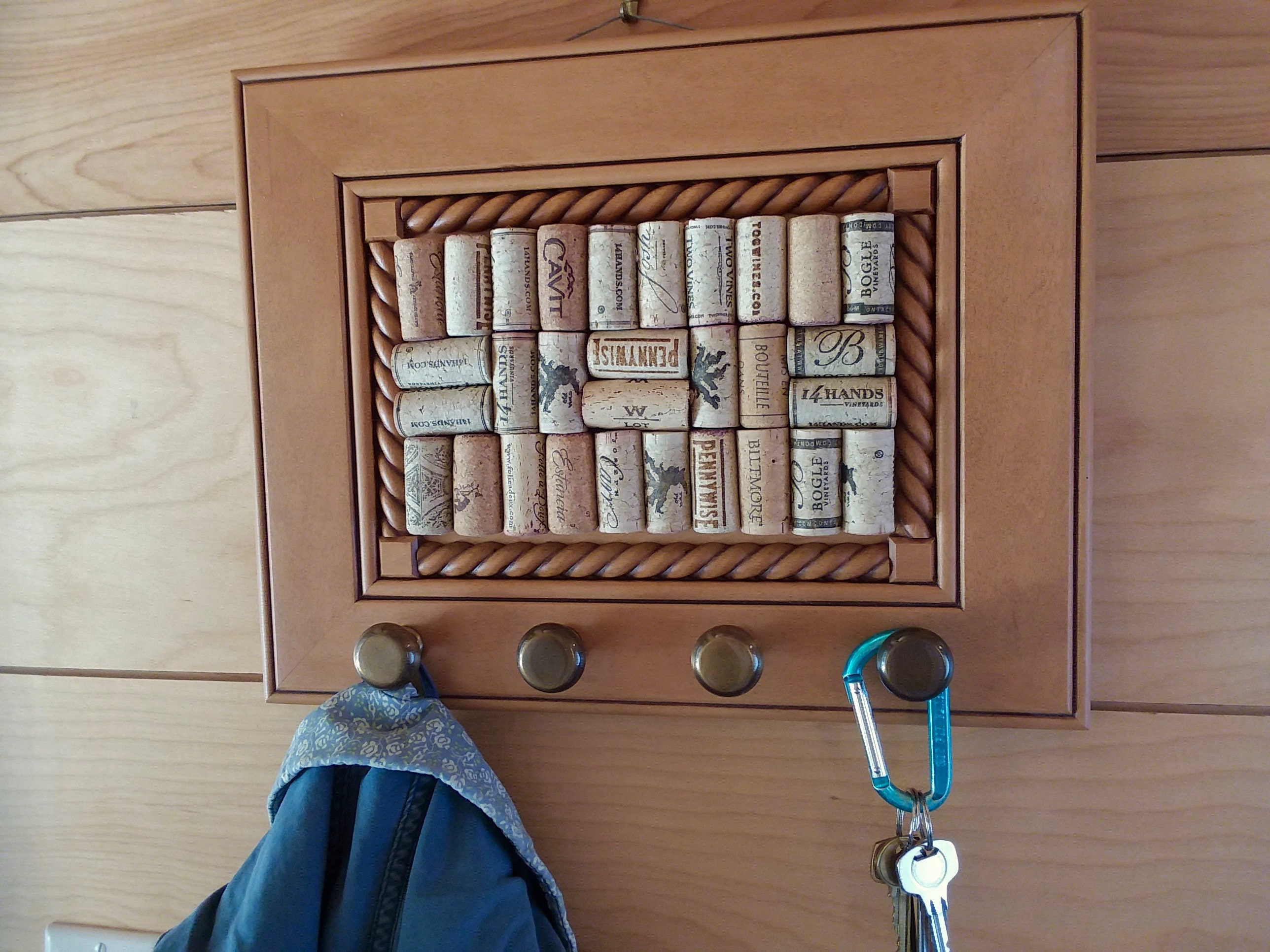 Wine Cork Board with Purse Hook Organizer. Hanging Bulletin   Etsy 4f6a4d5f4b