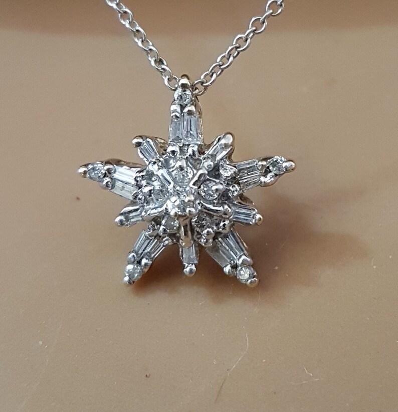 068ebea9a1 10K .50 Ctw White Gold Diamond Snowflake Star Pendant 16 Inch   Etsy