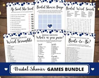 printable navy bridal shower games package printable navy bridal shower games bundle navy silver bridal games bundle 006