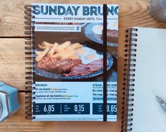 Recycled Brunch Food Menu Notebook - Wetherspoons