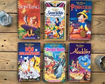 Recycled Disney VHS Notebook - the Lion king, Aladdin, Etc