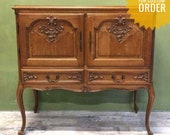 Vintage Louis XV replica French carved oak antique sidetable hallway dresser cabinet Hand Painted Country Shabby.