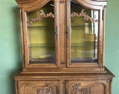 French oak carved furniture, buffet showcase cabinet, vitrine - custom-made painted