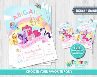 My Little Pony Birthday Invitation Party For Girl Pinkie Pie Rainbow Dash Twilight A101