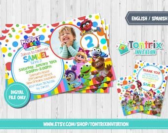 muppet babies invitation etsy