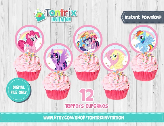 12 My Little Pony Cupcake Toppers, My Little Pony birthday party, My Little  Pony Birthday, Toppers, Pinkie pie party, twilight sparkle, A101