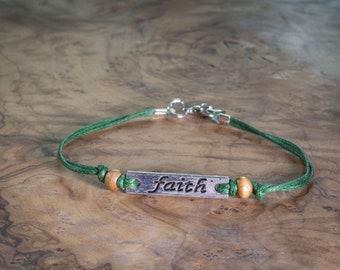 Peace Bracelet, Cord Bracelet, Symbolic Gift, String Bracelet, Boho Style, Silver Peace
