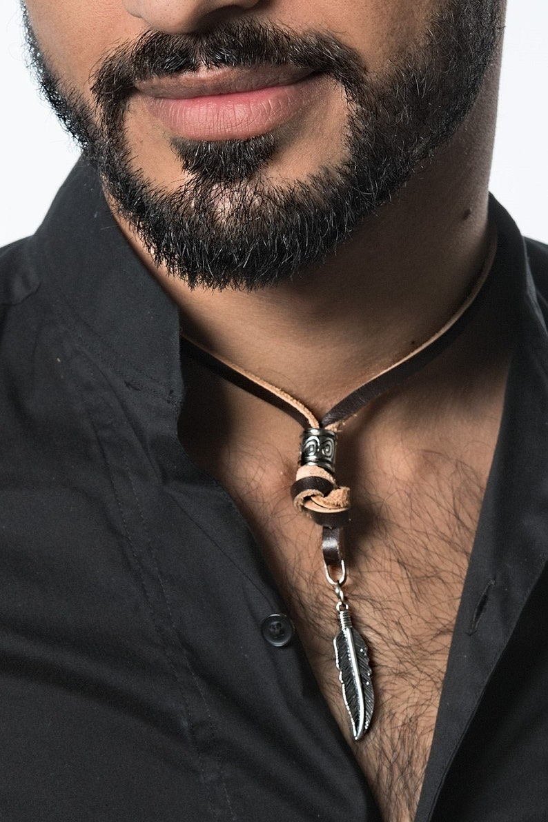 Feather necklace men's jewellery Leather necklace image 0