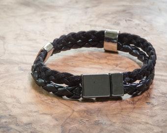 Black leather bracelet, Black leather bracelet for men, Mens bracelet