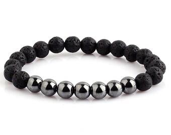 Black Bracelet, Bracelet For Men, Men's Bracelet, Unisex Bracelet, Gift For Men, Stretch Bracelet, Jewelry For Men