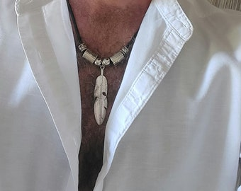 Feather necklace men's jewellery, Leather necklace, Men's necklaces, Boho necklace, Feather necklace, Necklaces for men, Feather pendant
